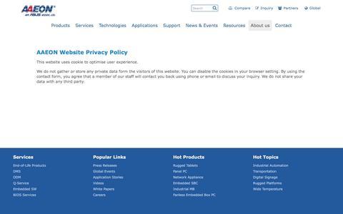 Screenshot of Privacy Page aaeon.com - AAEON Website Privacy Policy - captured Nov. 19, 2016