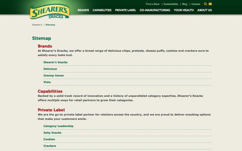 Screenshot of Site Map Page shearers.com - Shearer's Sitemap | Find Potato Chips & Snack Foods - captured Sept. 24, 2018