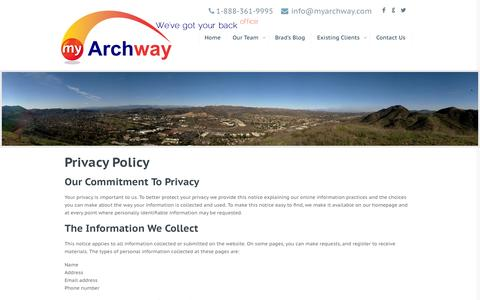 Screenshot of Privacy Page myarchway.com - Privacy Policy - Archway Computer, Vertafore AMS 360, Sagitta, Applied SystArchway Computer, Vertafore AMS 360, Sagitta, Applied Syst - captured Oct. 4, 2014
