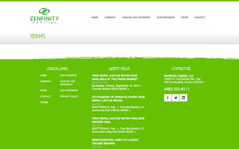 Screenshot of Terms Page zenfinitycapital.com - TERMS   Zenfinity Capital - captured Oct. 27, 2014