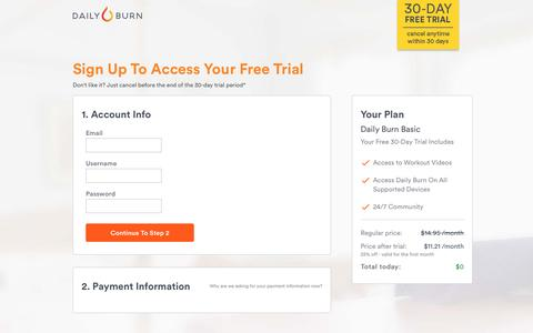 Screenshot of Landing Page dailyburn.com - Daily Burn — A Better Fit. - captured Jan. 2, 2017
