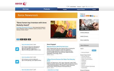 Screenshot of Press Page xerox.com - Xerox News and Information | Xerox Newsroom - captured Oct. 22, 2014