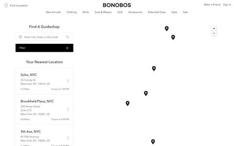 Screenshot of Locations Page bonobos.com - Store Finder | U.S. - captured May 1, 2019