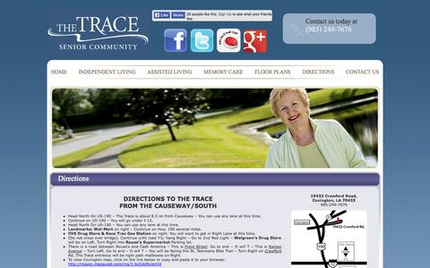 Screenshot of Maps & Directions Page thetrace.info - Directions   The Trace - captured Oct. 6, 2014