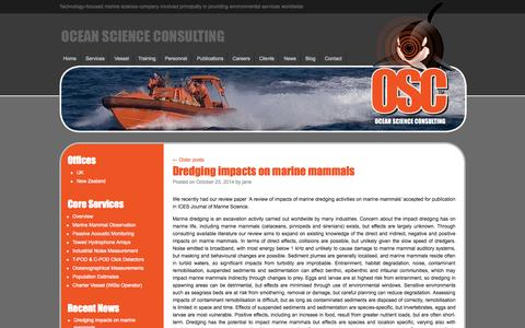 Screenshot of Blog osc.co.uk - Blog with the latest news and events from Ocean Science Consulting - captured Oct. 27, 2014