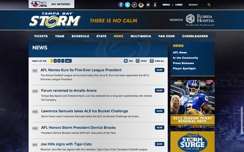 Screenshot of Press Page tampabaystorm.com - Tampa Bay Storm - The Official Web Site :: News - captured Sept. 19, 2014