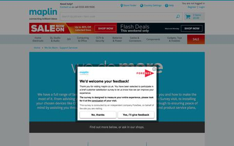 Screenshot of Services Page maplin.co.uk - We Do More - Support Services | Maplin - captured June 20, 2017