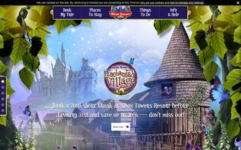 Screenshot of Home Page altontowers.com - Alton Towers Resort   UK's Best Short Break Resort - captured Jan. 27, 2015