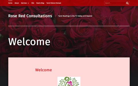 Screenshot of Home Page roseredtarot.com - Rose Red Consultations  – Tarot Readings in the Tri-Valley and beyond - captured Aug. 16, 2019