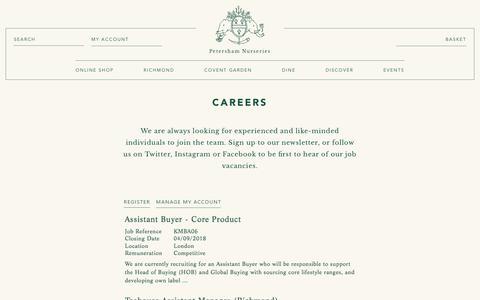 Screenshot of Jobs Page petershamnurseries.com - Petersham | Careers - captured July 17, 2018