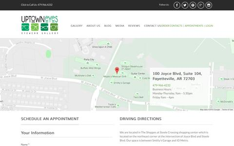 Screenshot of Contact Page uptowneyesnwa.com - Uptown Eyes Optical Shop Contact Us - captured Nov. 29, 2016