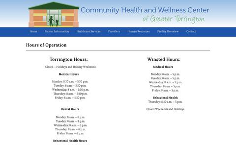 Screenshot of Hours Page chwctorr.org - Hours of Operation – Community Health & Wellness - captured Aug. 17, 2017