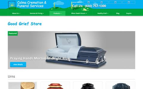 Screenshot of Products Page colmacremation.com - Good Grief Store | Colma Cremation & Funeral Services - captured Sept. 28, 2018