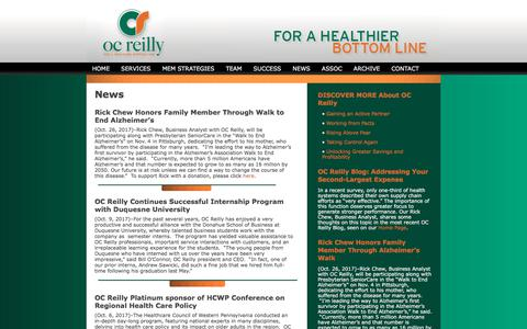 Screenshot of Press Page ocreilly.com - Healthcare Consulting | OC Reilly » NEWS - captured Nov. 1, 2017