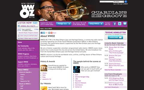 Screenshot of About Page wwoz.org - About WWOZ | WWOZ New Orleans 90.7 FM - captured Sept. 19, 2014