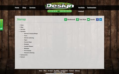 Screenshot of Site Map Page natureofdesign.ca - Nature of Design | Signs & Decals Ottawa - captured Oct. 7, 2014