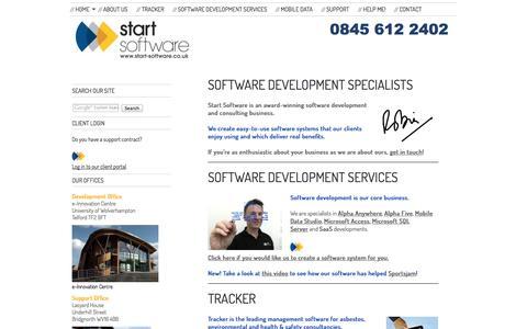 Screenshot of Home Page start-software.com - Home - Start Software - Software Development Services - captured Oct. 1, 2014