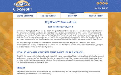 Screenshot of Terms Page cityslooth.com - CitySlooth™ Terms of Use - CitySlooth, sloothing events, specials, deals, and news near you! - captured Feb. 25, 2016