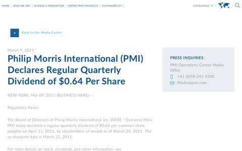 Screenshot of Press Page pmi.com - Philip Morris International (PMI) Declares   Regular Quarterly Dividend of $0.64 Per Share - captured Nov. 1, 2018