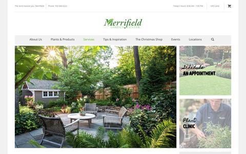 Screenshot of Services Page merrifieldgardencenter.com - Landscape Design & Services - Merrifield Garden Center - captured Oct. 31, 2018