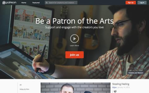 Screenshot of Home Page patreon.com - Patreon: Support the creators you love - captured Jan. 20, 2015