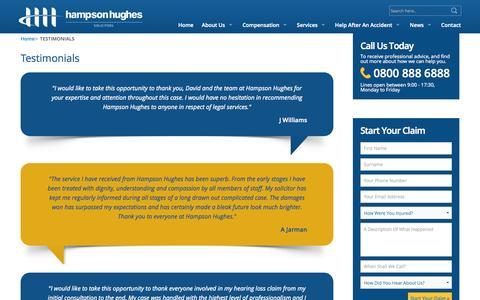 Screenshot of Testimonials Page hampsonhughes.com - Testimonials - captured Oct. 1, 2014