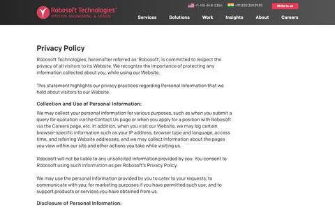 Screenshot of Privacy Page robosoftin.com - Full-Service Digital Experiences Agency | Robosoft Technologies - captured Oct. 18, 2018