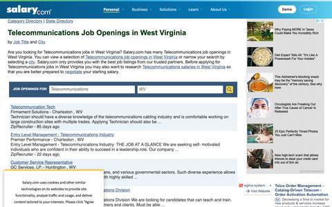 Screenshot of Jobs Page salary.com - Telecommunications Job Openings in West Virginia | Salary.com - captured Oct. 26, 2018