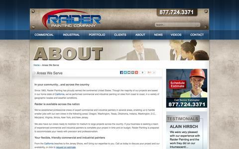 Screenshot of Locations Page raiderpainting.com - Areas We Serve | Raider Painting - captured Nov. 3, 2014