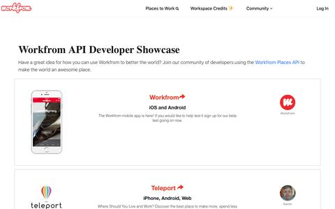 Screenshot of Developers Page workfrom.co - Workfrom API - Developer Showcase - captured Aug. 25, 2019