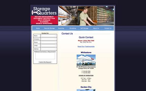 Screenshot of Contact Page Hours Page storagequarters.com - Contact Us | Storage Quarters | Garden City | Whitestone | College Point | New York - captured Sept. 30, 2014