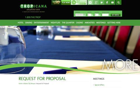 Screenshot of tropicana.net - Tropicana | Meeting RFP | Venues in Atlantic City - captured March 20, 2016