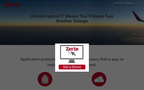 Zerto's Products for Virtual Data Replication
