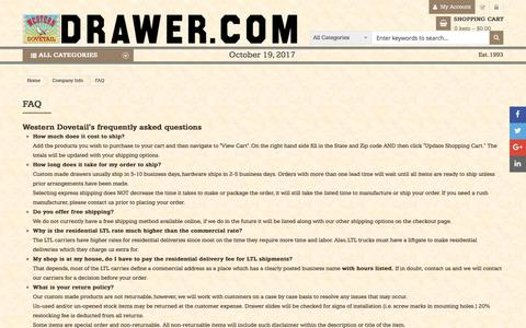 Screenshot of FAQ Page drawer.com - FAQ - Company Info - captured Oct. 20, 2017
