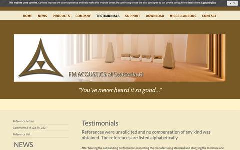 Screenshot of Testimonials Page fmacoustics.com - Testimonials - FM ACOUSTICS LTD. - captured Oct. 10, 2018