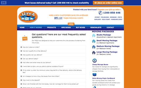 Screenshot of FAQ Page hireabox.com.au - Frequently Asked Questions - Hire A Box - captured Oct. 2, 2014