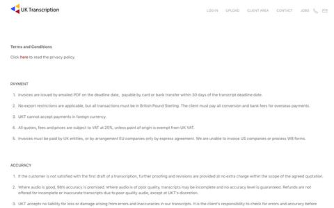 Screenshot of Terms Page uktranscription.com - Terms and Conditions - captured July 26, 2018