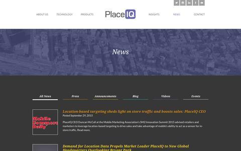 Screenshot of Blog placeiq.com - News   PlaceIQ - captured Oct. 5, 2015