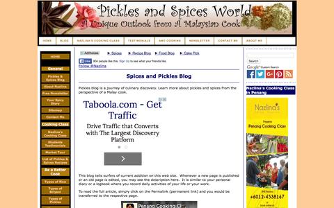 Screenshot of Blog pickles-and-spices.com - Spices and Pickles Blog - check out new articles or new edition of content in Pickles and Spices World web site - captured Dec. 9, 2015