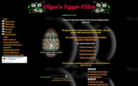 Screenshot of Home Page eggs-files.com - Olga's Eggs-Files. Ukrainian Easter Eggs - Pysanky Egg Art. - captured June 14, 2016