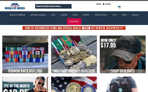 Screenshot of Home Page medalsofamerica.com - Military Awards and Apparel   Medals of America - captured Sept. 20, 2018