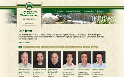 Screenshot of Team Page landscapeds.com - Landscape Design Services, Inc - Our Team - captured Jan. 25, 2016