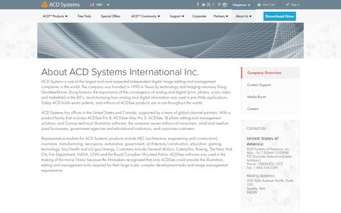 Screenshot of About Page acdsee.com - About - ACD Systems - captured Oct. 27, 2015
