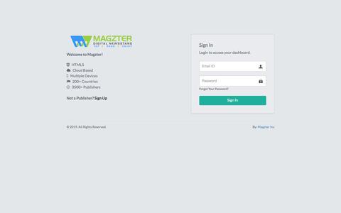 Screenshot of Login Page magzter.com - Publisher Login - Magzter.com - captured Nov. 28, 2019