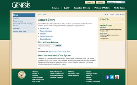 Screenshot of Press Page genesishcs.org - Search for News - Genesis HealthCare System - Zanesville, Ohio - captured Oct. 2, 2014