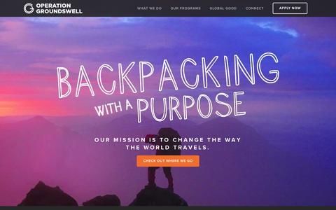 Screenshot of Home Page operationgroundswell.com - Backpacking with a Purpose | Operation Groundswell - captured Oct. 1, 2015
