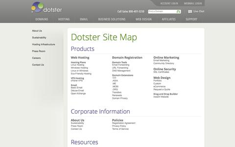 Screenshot of Site Map Page dotster.com - Dotster Site Map - captured Sept. 18, 2014
