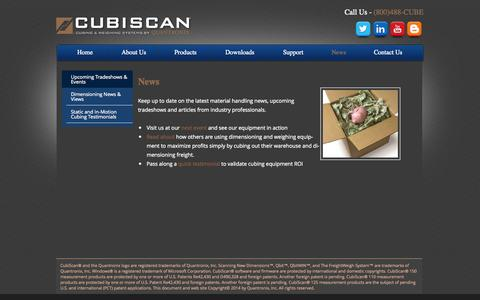 Screenshot of Press Page cubiscan.com - News | CubiScan - captured Sept. 30, 2014