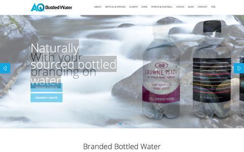 Screenshot of Home Page aqbottledwater.com - Bottled Water Branding | Customised Water Bottles – AQ Bottled Water - captured July 28, 2018