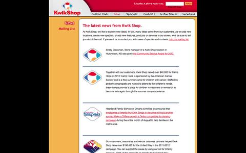 Screenshot of Press Page kwikshop.com - Kwik Shop | Convenience Stores | News - captured Oct. 27, 2014